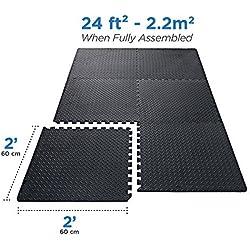Basics Hardware Enclavamiento azulejos de espuma EVA Puzzle alfombrilla de ejercicio, Protector de suelos para gimnasio equipo y cojín para entrenamientos, 24SQ. FT (6azulejos, 12Fronteras)