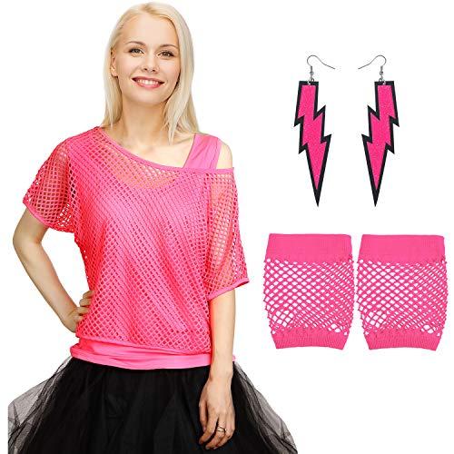 Kostüm Nylon Zubehör Handschuhe - Blulu 80 Jahre Kostüme Zubehör Set, Sexy Fischnetz Schulter T-Shirt Tank Handschuhe Ohrringe für 80 Jahre Party