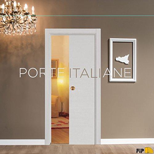 Porta porte scorrevole scomparsa interno muro da 90x210 bianco matrix con serratura