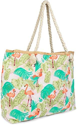 styleBREAKER XXL Strandtasche mit Flamingo Palmen Print und Reißverschluss, Schultertasche, Shopper, Damen 02012247, Farbe:Rosa-Grün-Orange