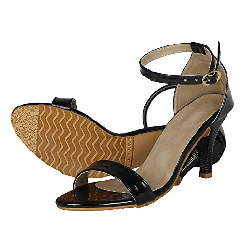 Vagon Women's Black Synthetic Leather Fashion Sandal -36