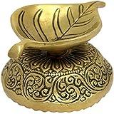 Leaf Decor Ghee Oil Wick Lamp Diya Brass Sculpture Art for Hindu Puja 2 x 3.5 x 2.75 inches 315 Grams