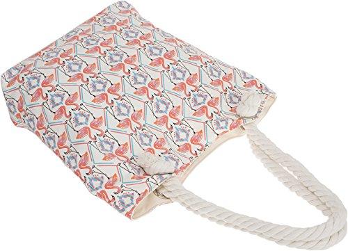Küstenluder LOURA Ethno FLAMINGO in Love Rope Canvas TASCHE Shopper Rockabilly Weiß mit Flamingos