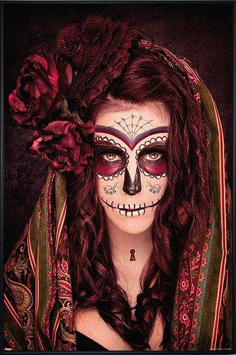 en Poster Tattoo Day of The Dead (93x62 cm) gerahmt in: Rahmen schwarz ()