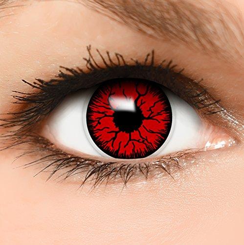 Farbige Kontaktlinsen Devil in rot + Behälter - Top Linsenfinder Markenqualität, 1Paar (2 Stück) (Kinder Für Top-halloween-filme)