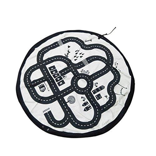 Preisvergleich Produktbild Sharplace 2 in 1 Spiel Matte für Säugling Kleine Kinder Spielwaren Behälter aus Polyester,  Platz Sparend Gym Yoga Matte - Autobahn Muster