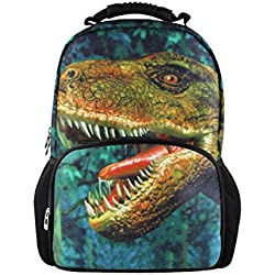 chaqlin 3d hombres mochila de viaje Escuela Portátil Mochila de impresión animal Verde dinosaurio large