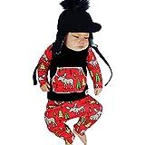 togel Infant Baby Jungen Mädchen Weihnachten Langarm Cartoon Print Tops + Hosen Outfit babykleidung kindermode kinderkleidung baby klamotten baby strampler körper junge mädchen set