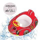 Schwimmboot Racer   Aufblasbares Kinderboot in Premium Qualität Schwimmhilfe Badehilfe Boot für Kinder ab 1,5 J. mit Lenkrad  Baby Wasser Pool Schwimmbad Badespielzeug Kleinkinder Junge Mädchen (rot)