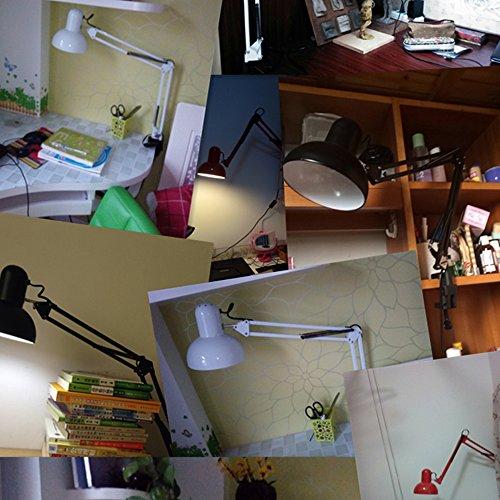 JDYee Swing Arm Desk Lámparas, Lámpara de Mesa, Regular E27 Sized Socket, Abrazadera Montada, Luces de Escritorio Ajustable Para Sala de Estudio Oficina de Estudio de Lectura Dormitorio Coffe