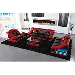cuero sofá Conjunto TURINO 3-2-1 con opcional Iluminación LED