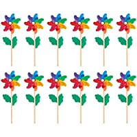 Juvale Rainbow Pinwheels (12-Pack) - Colorful Pinwheels, Great as Kids Toys, Garden, Party, Outdoor, Backyard, Decorative Use - 4.5 x 11.2 x 2.1 Inches