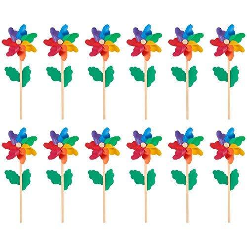 Juvale Windräder- 12 Stück, bunte Windräder - Vorteilspackung - geeignet als Kinderspielzeug oder als Deko für Garten, Party, Außenbereich, mehrfarbig, 11,4 x 28,5 x 5,3 cm