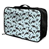 Portable Luggage Duffel Bag Orca Whale Ocean Pastel Blue Travel Bags Carry-on In Trolley Handle
