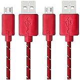 Demarkt Ligne Données USB Nylon Tressé Câble Alimentation Beau Durable Ligne De Données Pour Samsung Galaxy, HTC et Autres Smartphones Android Rouge 3PCS