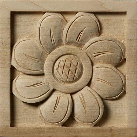 Ekena Millwork ROS03X03X01SFMA Medium Sunflower Rosette, 3 1/2-Inch x 3 1/2-Inch x 3/4-Inch, Maple