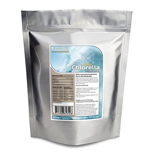Nurafit Chlorella Tabs | Algen Presslinge | vegan Superfood Tabletten | reich an Vitaminen, Mineralien und Spurenelementen | 500g / 0.5kg Packung | 2000 Kapseln