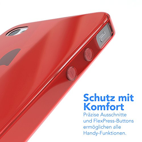 "EAZY CASE Handyhülle für Apple iPhone 4S, iPhone 4 Hülle - Premium Handy Schutzhülle Slimcover ""Clear"" - Transparentes Silikon Backcover in Klar / Durchsichtig Rot"