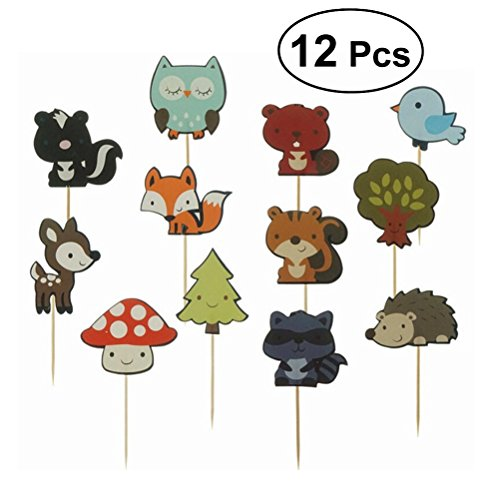 bestonzon 12pcs Cupcake Toppers Carino Wald Tier Cupcake Toppers Dekoration Cake Picks für Baby Shower Kinder Geburtstagsparty