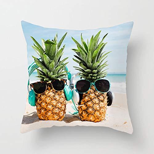 QNYH Sofa Umarmung Kissenbezug Quadrat Ananas Tragen Kopfhörer Sonnenbrille Druck Vierteilige Set 45Cmx45Cm