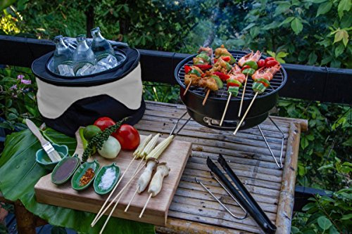 51et04P21UL - Grill-Eimer Holzkohlegrill für Garten Terrasse Camping Festival Picknick Party BBQ Barbecue 25,4 cm