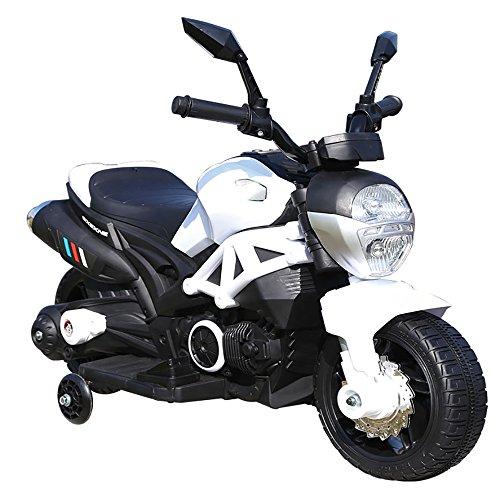 kidfun Moto Motocicletta Elettrica per Bambini 6V Bianca