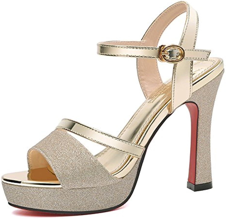 Chanclas MEIDUO sandalias Zapatos de mujer PU Summer Fall Comfort Novedad Sandalias Stiletto Heel Peep Toe Hebilla...
