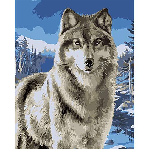 FULLLUCKY Bilder,Malen nach Zahlen Erwachsene,Schnee Wolf Schnee Berg Tier DIY Digitale Malerei by Zahlen Moderne Wandkunst Leinwand Malerei Einzigartiges Geschenk Wohnkultur 40x50cm, Rahmen -