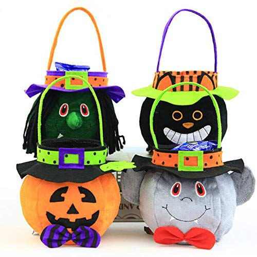 ZYANG 4 Stück Süßes sonst Gibt's Saures Halloween Pop-up-Süßigkeit-BonBon-Beutetasche Partei-Kürbistaschen, 4 Arten