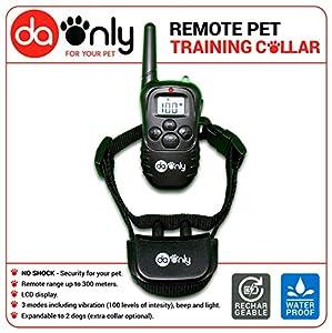 Collier de dressage anti aboiement pour chien avec fonction de vibration, sonore et lumineux, control télécommande pour chiens, dressage anti aboiement, collier anti aboiements DAONLY