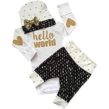 Koly_Newborn Tops pagliaccetto + Long Pants + Hat Outfits Vestiti 1 Set