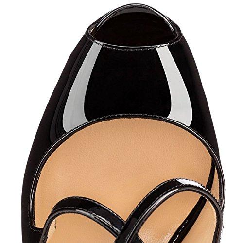 Salto Ubeauty Verniz Sandálias De Preto Bombas Brilho Senhoras Com Oversize Stilettos Toe Alto Sapatos Cinta Planalto Corss Peep Tornozelo wRBnIq