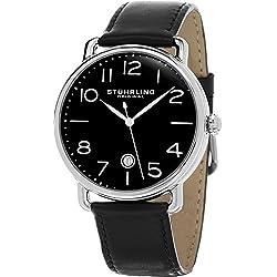 Stuhrling Original Symphony Men's Quartz Watch with Black Dial Analogue Display and Black Leather Strap 695.04