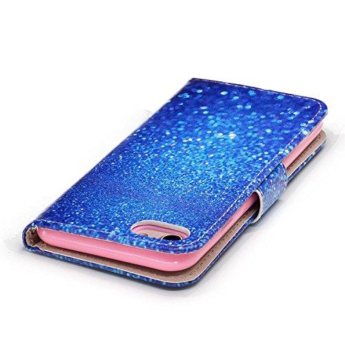 Linvei Hülle für Apple iPhone 7(4.7 Zoll) -Blumen muster Design/ TPU Silikon Backcover Case Handy Schutzhülle -Rote Blumen Design Schönes blaues Sandmuster