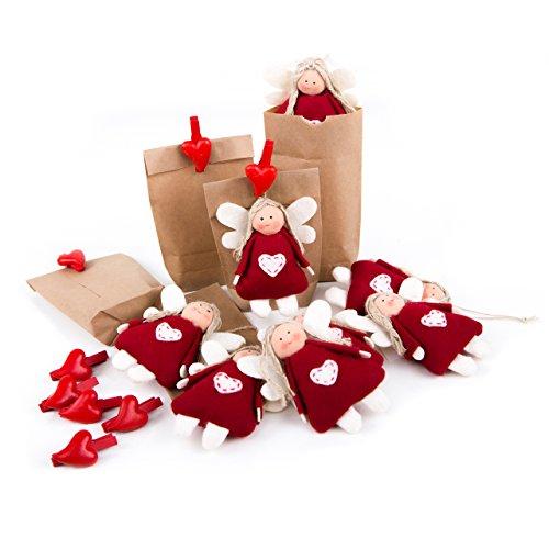 8 piccoli angeli in feltro + sacchetto di carta marrone 15 x 9 x 3,5 cm + 8 ciondoli a forma di cuore con angelo in feltro rosso bianco con cuore con angelo custode