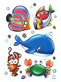 Fensterbild Set 5-tlg. Fische Wal Krabben Tiere statisch haftend Fenstersticker