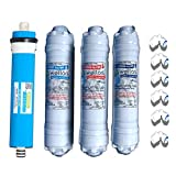 Wellon Pre-Carbon + Post Carbon+ Sediment RO Inline Set + Waterpurifieronline Membrane For Water Purifier