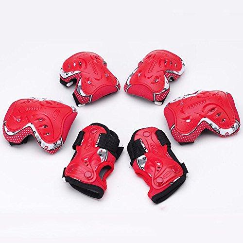 WX xin 6 In 1 Schutzausrüstung Knie Schutzbogen Verstellbar Armbinden Schutz Kind Sicherheit Rad BMX (Farbe : Rot, größe : - Skateboard Räder Gel