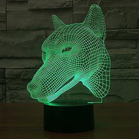 Illusione 3d lampada luce notturna jawell Cane 7Cambiare colore Touch USB tavolo regalo giocattoli decorazioni