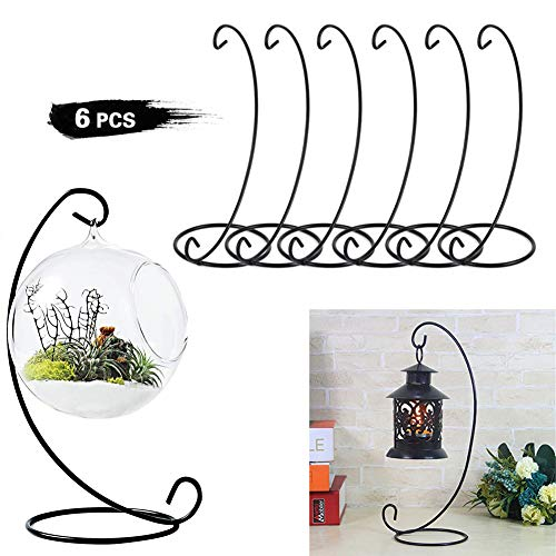 Set di 6 lanterne da appendere display stands holder ganci candela di vetro sfera albero pianta luce candela pasqua egg ball wedding decoration 9 ' black display stands