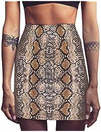 LHWY Falda Bodycon Sexy Moda Falda con Estampado Serpiente Cintura Alta  Fiesta Mini Falda EláStica Verano cd90c7a6efbb1