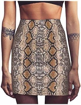 LHWY Falda Bodycon Sexy Moda Falda Con Estampado Serpiente Cintura Alta Fiesta Mini Falda EláStica Verano