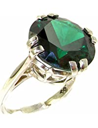 Solid Sterling Silver Womens Large 14mm Green Cubic Zirconia CZ Vintage Solitaire Cocktail Ring