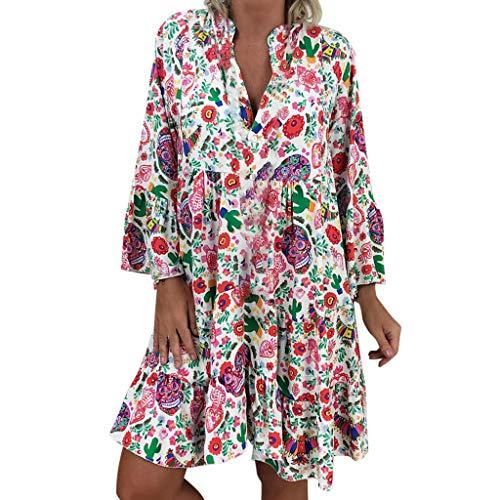 LOPILY Frauen Große Größen Blumenmuster Kleider Boho Stil Übergröße Sommerkleider Blumendruck Knielang Kleid Kurzarm Kleid Tunika Swing Kleid (Mehrfarbig, EU-40/CN-S) - Frottee Tunika Kleid