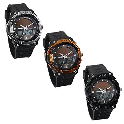 JewelryWe Reloj Deportivo Energía Solar Reloj de Hombre Digital para Aire Libre A Prueba de Agua 5...