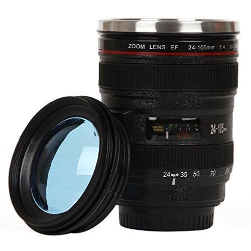Deinbe Objektiv-Schal Edelstahl Isolierkannen Kamera-Objektiv-Kaffeetasse-Schale Wasser-Kaffee-Tee-Schalen-Spiegelreflexkamera Cup schwarz