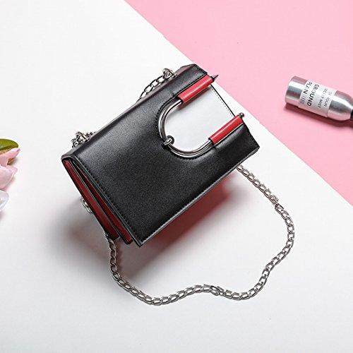 Weibliche Hardware-Zubehör-Kette Kleine Quadratische Tasche Schulter Messenger Tasche Flip-Paket Schwarz