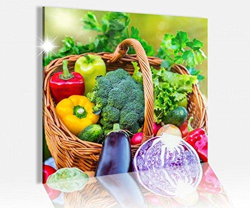 Acrylglasbild 50x50cm Gemüse Tomaten Knoblauch Küche Acrylbild Bilder Acrylglas Acrylglasbilder 14A4901, Acrylglas Größe3:50cmx50cm