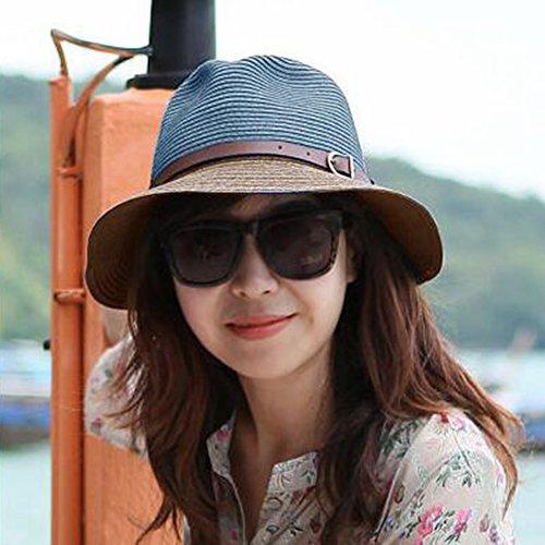 Damen Sonnenhut Bowler Hut Frauen Sonnenhut Visier Hut Strand Feiertag Paar Stil (Farbe : Blau)