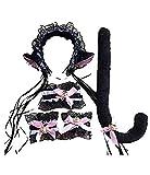 Nero e Rosa - Set da Gatta Gattina Sexy - Cerchietto - Coda - Bracciali - Collarino - Travestimento - Carnevale - Halloween - Accessori - Donna Bambina - sonaglini - Idea regalo natale compleanno